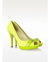 Versace Neon Yellow Leather Platform Pump
