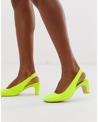 ASOS DESIGN Serpent Slingback Mid Heels In Neon Yellow