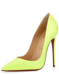 So kate patent 120mm red sole pump light green medium 523792
