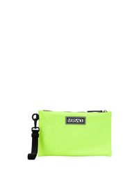 Green-Yellow Leather Zip Pouch