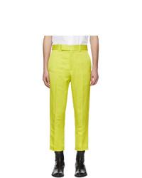 Haider Ackermann Yellow Linen Skinny Leg Trousers