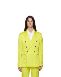 Haider Ackermann Yellow Linen Double Breasted Blazer