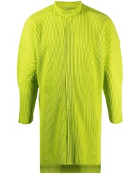 Homme Plissé Issey Miyake Pleated High Neck Buttoned Shirt