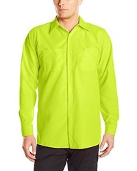 Red Kap Enhanced Visibility Work Shirt Fluorescent Yellowgreen Long Sleeve Long Medium
