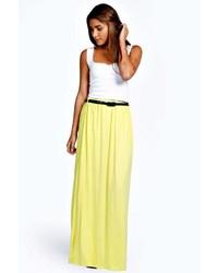 Boohoo Vivian Viscose Jersey Belted Maxi Skirt