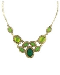 2028 Necklace Gold Tone Green Crystal Bib Necklace