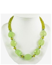 AsiaEXP Handmade Faceted Green Jade Chalcedony Antiqued Silver Bead Necklace