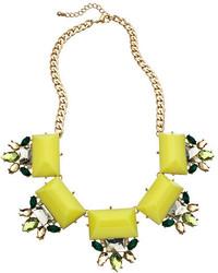 Blu Bijoux Gold Crystal And Yellow Stones Bib Necklace