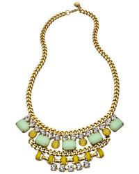 Yochi Gold Crystal Mint And Yellow Cascading Stone Bib Necklace