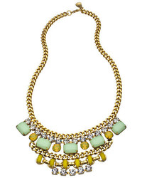 Yochi Gold Crystal Mint And Yellow Cascading Stone Bib Necklace