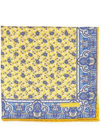 Edward armah small paisley print silk pocket square yellow medium 349766