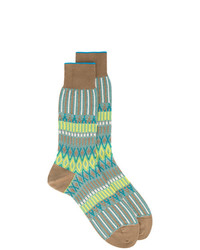 Ayame Ayam Green And Yellow Basket Lunch Knitted Pattern Socks