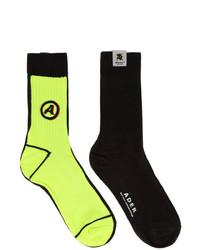 Ader Error Black And Yellow Different Tissue Socks