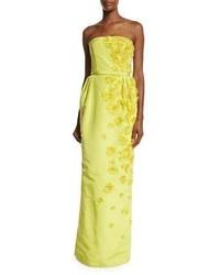 Oscar de la Renta Belted Strapless Rosette Gown Citron