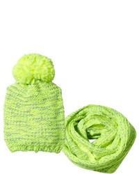 Billieblush Neon Green Knitted Bobble Hat And Scarf Set