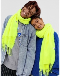 Collusion Unisex Blanket Scarf In Neon Green