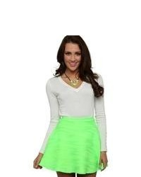 Deb Neon Textured Skater Skirt Neon Green