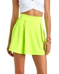 Charlotte Russe Neon Pleated High Waisted Skater Skirt