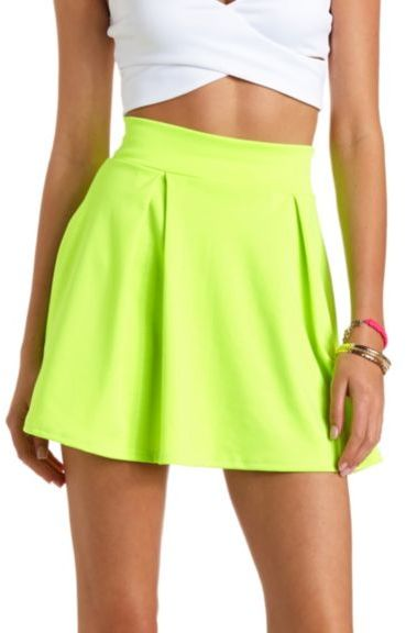 822043b4a7 ... Charlotte Russe Neon Pleated High Waisted Skater Skirt ...