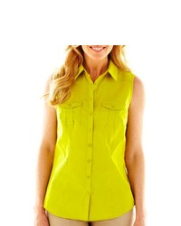 Green-Yellow Sleeveless Button Down Shirt