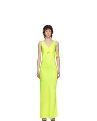 Helmut Lang Yellow Double Satin Sash Dress