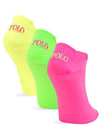 Ralph Lauren 3 Pack Double Tab Polo No Show Sport Socks