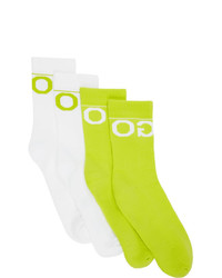 Hugo Two Pack White And Yellow Mismatched Socks
