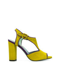 Green-Yellow Suede Heeled Sandals