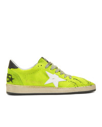 Golden Goose Yellow Suede Paint B Sneakers
