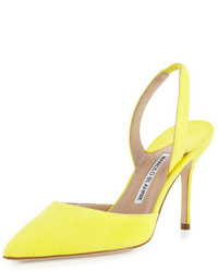 Green-Yellow Suede Pumps