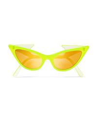 Le Specs Adam Selman The Prowler Cat Eye Neon Acetate Mirrored Sunglasses