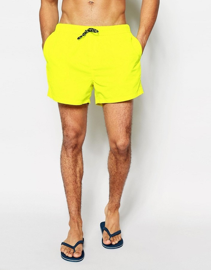 6ec3ddaacb Asos Brand Swim Shorts In Neon Yellow Short Length, $19 | Asos ...