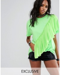 Reclaimed Vintage Inspired Festival T Shirt With Mesh Frill In Neon