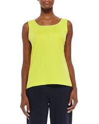 Joan Vass Sequined Trim Tank Wild Lime Plus Size