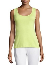 Joan Vass Soft Scoop Neck Tank Lime Petite