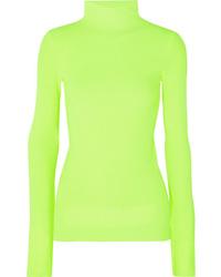 Helmut Lang Neon Ribbed Cotton Turtleneck Sweater