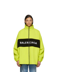 Balenciaga Yellow Wool Logo Zip Up Jacket
