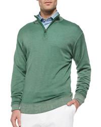 Green Zip Neck Sweater