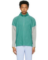 Homme Plissé Issey Miyake Blue Grey Block Half Zip Sweater