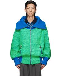 We11done Green Blue Voluminous Pile Zip Up Sweater