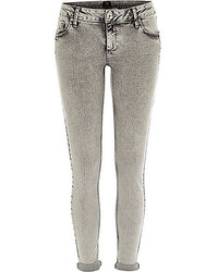 River Island Grey Acid Wash Rolled Up Cara Superskinny Jeans