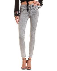 Grey Acid Wash Skinny Jeans