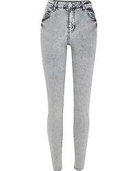 River Island Grey Acid Wash Lana Superskinny Jeans