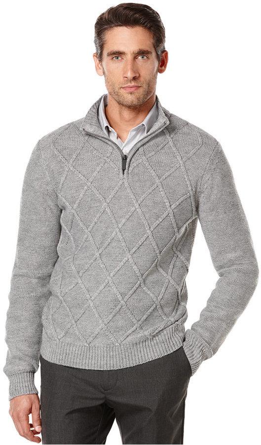 0cebe9978c ... Perry Ellis Quarter Zip Diamond Pattern Sweater ...