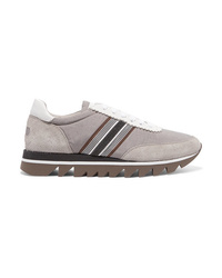 Brunello Cucinelli Embellished Voile Suede And Leather Sneakers