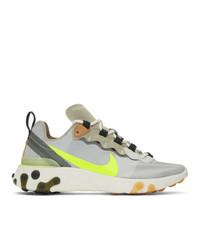 Nike Grey And Khaki React Elet 55 Sneakers