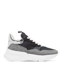 Alexander McQueen Grey And Navy Rib Suede Sneakers