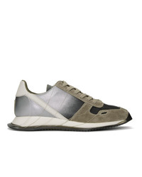 Rick Owens Grey And Silver New Vintage Runner Sneakers