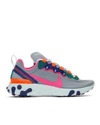 Nike Grey React Elet 55 Sneakers