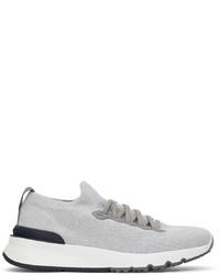 Brunello Cucinelli Grey Wool Knit Sneakers